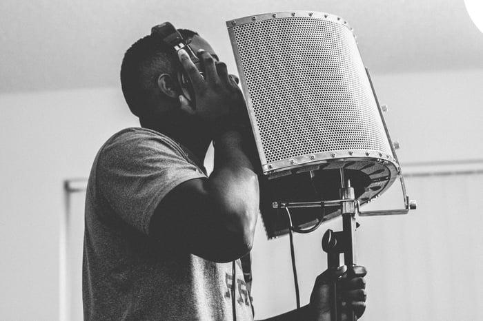 Man Recording Vocals